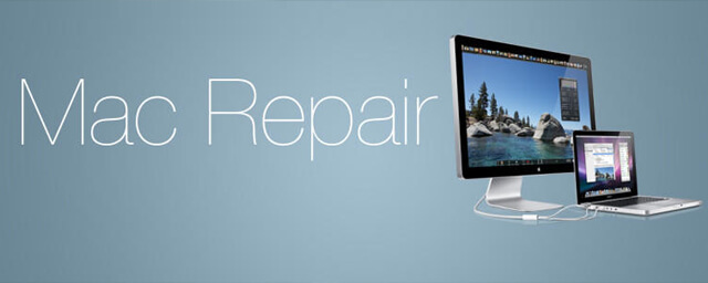 Blue backdrop with the words 'Mac repair' positioned next to a Mac computer and laptop