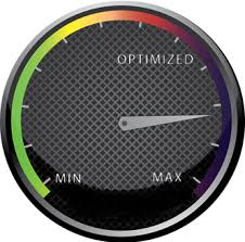 speedometer displaying the needle between 'optimized' and 'max'.